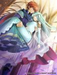 1boy 1girl aqua_hair armor bare_shoulders blue_eyes blue_hair bride cape carrying closed_eyes dress eliwood_(fire_emblem) fire_emblem fire_emblem:_rekka_no_ken fire_emblem_cipher gloves hair_ornament jewelry long_hair mamkute ninian official_art princess_carry redhead short_hair toyo_sao