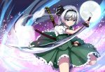1girl artist_name bangs black_hairband blue_eyes blunt_bangs cherry_blossoms closed_mouth collared_shirt eyebrows eyebrows_visible_through_hair floral_print frilled_skirt frills full_moon green_skirt green_vest hair_ribbon hairband hitodama holding holding_sheath holding_weapon katana konpaku_youmu konpaku_youmu_(ghost) moon motion_lines night night_sky petals puffy_short_sleeves puffy_sleeves ribbon sheath sheathed shirt short_sleeves silver_hair skirt sky snozaki standing standing_on_one_leg sword sword_behind_back thighs touhou vest weapon white_shirt