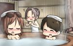 3girls :3 bath bathing black_hair blush braid brown_hair closed_eyes commentary dated eyewear_on_head hamu_koutarou highres kantai_collection light_brown_hair multiple_girls naked_towel natori_(kantai_collection) nose_blush nude short_hair sunglasses towel towel_on_head uranami_(kantai_collection) uwu zui_zui_dance zuihou_(kantai_collection)