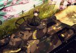1boy axis_powers_hetalia black_eyes black_hair cherry_blossoms grass ground_vehicle japan_(hetalia) military military_vehicle motor_vehicle river smile tank toyosu_toyosu tree type_97_chi-ha