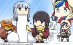 3girls :3 asymmetrical_eyebrows beret black_eyes black_hair blonde_hair blue_eyes blue_hair braid commandant_teste_(kantai_collection) commentary dated day disembodied_head eighth_note gintama gloves hamu_koutarou hat hatsukaze_(kantai_collection) headless highres kantai_collection kitakami_(kantai_collection) multicolored_hair multiple_girls musical_note neo_armstrong_cyclone_jet_armstrong_cannon open_mouth phallic_symbol pom_pom_(clothes) redhead scarf short_hair shovel snow_sculpture squatting streaked_hair the_thinker white_gloves yellow_gloves zoom_layer