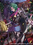 1boy belt bow cape coin copyright_name fire_emblem fire_emblem_cipher flower gloves green_hair horse kousei_horiguchi lando_(fire_emblem) leaf male_focus night night_sky official_art open_mouth petals rose sky solo sparkle sword teeth violet_eyes weapon
