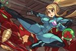 1girl alex_ahad alien blue_eyes bodysuit breasts gun handgun highres kicking metroid metroid_(creature) midair mole mole_under_eye motion_blur parted_lips ponytail samus_aran serious skin_tight solo_focus space_pirate_(metroid) speed_lines thick_thighs thighs unaligned_breasts weapon zero_suit