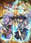 2girls 3boys armor axe battle_axe black_hair blonde_hair blue_eyes blue_hair breasts brown_gloves camilla_(fire_emblem_if) cape cleavage closed_mouth company_connection company_name copyright_name falchion_(fire_emblem) fire_emblem fire_emblem:_kakusei fire_emblem_cipher fire_emblem_heroes fire_emblem_if gloves hair_over_one_eye helmet holding holding_sword holding_weapon hooded_coat katana krom kuroba.k kuroba_k large_breasts lips lipstick liz_(fire_emblem) long_coat long_hair makeup multiple_boys multiple_girls official_art open_mouth pants purple_hair ryouma_(fire_emblem_if) shiny short_hair short_twintails shoulder_armor staff summoner_(fire_emblem_heroes) sword twintails violet_eyes weapon wide_sleeves