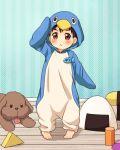 1boy :< animal_costume black_hair brown_eyes building_block child dog katsuki_yuuri male_focus name_tag penguin_costume salute twc_(p-towaco) vicchan younger yuri!!!_on_ice