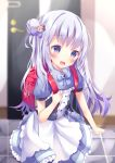 1girl :d absurdres apron backpack bag bangs bear_hair_ornament blue_ribbon blurry blurry_background blush bow commentary_request depth_of_field door eyebrows_visible_through_hair hair_bow hair_bun hair_ornament hand_up head_tilt highres holding indoors long_hair looking_at_viewer open_mouth original puffy_short_sleeves puffy_sleeves purple_bow purple_hair purple_shirt purple_skirt randoseru ribbon shirt short_sleeves side_bun skirt smile solo standing star tile_floor tiles tsuruse very_long_hair violet_eyes waist_apron white_apron