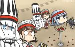 3girls anger_vein ball basket blue_eyes brown_hair capelet commentary dated disembodied_head dullahan glasses gloves hamu_koutarou hat hatsukaze_(kantai_collection) headband headdress highres kantai_collection looking_up multiple_girls northern_water_hime pince-nez roma_(kantai_collection) school_uniform shaded_face shinkaisei-kan white_hair white_skin