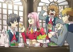 1boy 1girl 3boys absurdres ahoge apple banana bangs black_hair blonde_hair blue_eyes blush bread brown_hair closed_eyes commentary cup darling_in_the_franxx english_commentary food fruit fruit_bowl glasses gorou_(darling_in_the_franxx) grapes green_eyes hair_ornament hairband highres hiro_(darling_in_the_franxx) holding holding_cup holding_food holding_spoon honey horns lipstick long_hair long_sleeves makeup military military_uniform multiple_boys necktie oni_horns open_mouth orange_neckwear pear pink_hair plate red_horns red_neckwear saucer sharing_food short_hair signature spoon sugar_bowl table teacup teapot teeth tongue tongue_out uniform white_hairband wightricealex zero_two_(darling_in_the_franxx) zorome_(darling_in_the_franxx)