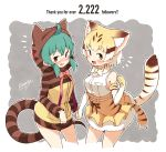 2girls absurdres animal_ears animal_hood belt blush bow bowtie brown_eyes cat_ears cat_tail dated elbow_gloves enk_0822 eyebrows_visible_through_hair flying_sweatdrops followers frilled_skirt frills gloves green_eyes hand_holding high-waist_skirt highres hood hoodie kemono_friends long_sleeves multiple_girls neck_ribbon nose_blush ribbon sand_cat_(kemono_friends) signature skirt sleeveless snake_tail striped tail tearing_up tsuchinoko_(kemono_friends)