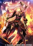 1girl armor bangs bare_shoulders breasts closed_mouth commentary_request company_connection company_name copyright_name dark_skin feather_trim fire fire_emblem fire_emblem_cipher fire_emblem_heroes gauntlets gloves hair_ornament holding laevateinn_(fire_emblem_heroes) lips long_hair looking_at_viewer medium_breasts nagahama_megumi official_art pink_hair sleeveless solo sword thigh-highs twintails weapon