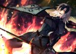 1girl :d antenna_hair armor armored_dress banner black_armor black_legwear fate/grand_order fate_(series) fire gauntlets holding holding_sword holding_weapon jeanne_d'arc_(alter)_(fate) jeanne_d'arc_(fate)_(all) long_hair looking_at_viewer open_mouth orange_eyes shimozuki_shio silver_hair smile solo standing sword thigh-highs weapon