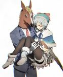 1boy 1girl ak-47 antenna_hair assault_rifle bacharu_(youtube) black_legwear blurry bruise_on_face carrying chibirisu chromatic_aberration dennou_shoujo_youtuber_shiro formal fur_trim gloves gun hat highres holding holding_gun holding_weapon horse_mask pantyhose princess_carry rifle shiro_(dennou_shoujo_youtuber_shiro) short_hair short_shorts shorts suit virtual_youtuber weapon white_background white_hair