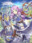 1girl armor bangs belt belt_pouch boots breastplate circlet closed_mouth clouds cloudy_sky company_name copyright_name day elbow_gloves eyebrows_visible_through_hair feathered_wings feathers fire_emblem fire_emblem:_rekka_no_ken fire_emblem_cipher florina gloves green_eyes hmk84 holding holding_weapon horns lavender_hair long_hair looking_at_viewer official_art outdoors pegasus pegasus_knight pouch sky smile solo thigh-highs thigh_boots weapon wings zettai_ryouiki