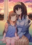 2girls aiban black_hair breasts brown_hair closed_eyes clouds commentary_request evening hairband highres idolmaster idolmaster_cinderella_girls large_breasts long_hair long_sleeves multiple_girls off-shoulder_sweater orange_sky ribbed_sweater sagisawa_fumika shawl sitting sky sleeping sunlight sunset sweater tachibana_arisu twilight window