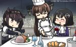 3girls ^_^ ^o^ alcohol black_hair blush bodysuit brown_hair chef_hat chef_uniform closed_eyes clothes_writing commentary cup dated double-breasted drinking_glass flying_sweatdrops fork gloves hachimaki haguro_(kantai_collection) hamu_koutarou hat hatsuzuki_(kantai_collection) headband highres holding holding_fork jacket kantai_collection long_hair long_sleeves military military_uniform multiple_girls nose_blush open_mouth pointy_hair ponytail purple_jacket school_uniform serafuku short_hair short_sleeves sitting smile uniform white_gloves wine wine_glass yamato_(kantai_collection)