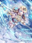 1girl armor bangs belt blonde_hair blue_eyes blue_hair cape company_name copyright_name dress earrings fingernails fire_emblem fire_emblem_cipher fire_emblem_heroes fjorm_(fire_emblem_heroes) holding holding_weapon jewelry long_sleeves multicolored_hair n_kamui official_art open_mouth polearm short_dress short_hair shoulder_armor shoulder_pads snowflakes solo spear thigh-highs weapon