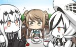 3girls :o aircraft_carrier_water_oni bare_shoulders beret black_dress blush brown_eyes brown_hair chair commentary cup dated detached_sleeves double_bun dress flying_sweatdrops food fork fruit hamu_koutarou hat highres kantai_collection long_hair michishio_(kantai_collection) multicolored_hair multiple_girls open_mouth parted_lips seaplane_tender_water_hime shinkaisei-kan short_twintails strawberry sweat table teacup twintails white_hair white_skin