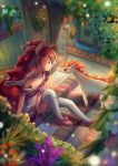 1girl animal_ears bai_qiao ballet_slippers brown_hair collarbone eye_contact gargoyle hair_between_eyes highres horse_ears inside long_hair looking_at_another magikarp moemon off_shoulder personification pink_footwear plant pokemon pokemon_(creature) ponyta potted_plant red_eyes sitting stairs tail water white_legwear