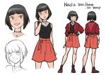 1girl black_hair black_shirt breasts brown_eyes character_name character_sheet choker eyebrows_visible_through_hair freckles from_behind grey_choker gurihiru hand_on_hip hand_on_own_cheek highres jacket jewelry looking_at_viewer marvel medium_breasts multiple_views nadia_van_dyne necklace official_art orange_shorts pink_lips red_jacket shirt short_hair shorts simple_background sleeveless sleeveless_shirt smile standing white_background