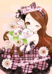 1girl brown_eyes brown_hair dress flower hairband idolmaster long_hair minase_iori mnmktn ribbon smile solo stuffed_animal stuffed_bunny stuffed_toy wink