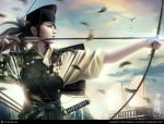 2008 3d archery armor bird birds black_hair boat bow_(weapon) bust cg cloud clouds digital_art eyeshadow facial_mark feathers fighting_stance fingerless_gloves floral_print gloves glowing hakama hat japanese_clothes katana kimono kyuudou legend_of_the_five_rings lips lipstick long_hair mario_wibisono motion_blur muneate outdoors outstretched_arm ponytail profile raynkazuya realistic ribbon rope sash single_glove sky sode solo sun sunset sword tsuruchi_saya weapon yellow_eyes yugake