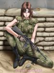 assault_rifle boots brown_eyes brown_hair camouflage cigarette gun headband long_hair m16 military military_uniform operator rifle sitting smoking uniform weapon