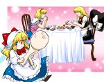 apron azuki_chou_mitsu azuki_osamitsu bandaid blonde_hair blue_eyes blush braid chair clothes_pin eating hands_clasped hat kirisame_marisa rice rice_spoon shanghai shanghai_doll short_hair shouzu_choukou sitting smile table touhou witch_hat