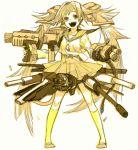 gun monochrome oekaki original sketch skirt todoroki_sora twintails weapon yellow