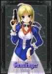 bandana blush fate_(series) gun handgun pistol saber semiautomatic thigh-highs weapon