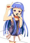 bangs blue_hair blunt_bangs hair_tubes highres kannagi kuroi_hitsuji long_hair microphone nagi solo