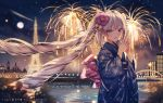 1girl :d bangs blue_eyes blue_kimono blush building city_lights cityscape commentary eiffel_tower eyebrows_visible_through_hair fate/apocrypha fate_(series) fireworks floral_print flower full_moon hair_flower hair_ornament hands_together highres japanese_clothes junpaku_karen kimono long_hair long_sleeves looking_at_viewer marie_antoinette_(fate/grand_order) moon night night_sky obi open_mouth river sash silver_hair sky smile solo twintails very_long_hair water wide_sleeves