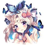 1girl :3 animal animal_ears arm_support artist_name bangs black_bow black_gloves blue_ribbon blush bow braid bug butterfly cat_ears closed_mouth commentary criss-cross_halter eyebrows_visible_through_hair facial_mark flower forehead_mark frilled_ribbon frills gloves hair_between_eyes hair_bow hair_ribbon halterneck head_tilt highres insect light_brown_hair long_hair original parted_bangs portrait red_flower red_rose ribbon rose simple_background smile solo squchan star striped striped_bow symbol_commentary twintails violet_eyes watermark web_address white_background white_flower white_rose