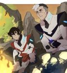 2boys black_hair campfire hyakujuu-ou_golion keith_(voltron) looking_at_another male_focus multicolored_hair multiple_boys parted_lips pilot_suit rock scar sitting sweat takashi_shirogane tetsu_(teppei) two-tone_hair undercut voltron:_legendary_defender white_hair