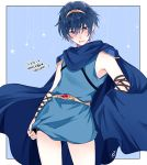 1boy blue_eyes blue_hair blush cape fire_emblem fire_emblem:_ankoku_ryuu_to_hikari_no_tsurugi fire_emblem:_monshou_no_nazo looking_at_viewer male_focus marth open_mouth short_hair simple_background solo yuli_(yy07610)