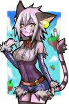 1girl alternate_costume animal_ears arched_back bare_shoulders belt blush border breasts cat_ears cat_tail clouds dakusuta detached_sleeves elh_melizee floating_island framed_breasts fur_trim furry hair_between_eyes highres long_hair looking_to_the_side older short_shorts shorts silver_hair sky solatorobo solo spiky_hair tail thigh-highs white_border yellow_eyes zettai_ryouiki