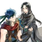 2boys black_hair blue_eyes blue_hair cape facial_mark fire_emblem fire_emblem:_souen_no_kiseki gloves headband ike jnsghsi long_hair male_focus multiple_boys red_eyes short_hair simple_background soren