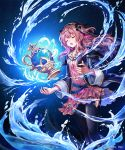 1girl :o bangs black_jacket black_pants black_ribbon blue_background check_commentary closed_eyes collarbone commentary_request company_name cygames dress facing_viewer gem glint glowing hair_ribbon hairband jacket layered_dress long_hair long_sleeves lorena_(shadowverse) madogawa magic official_art open_clothes open_jacket open_mouth pants pink_dress pink_hair ribbon shadowverse short_dress sidelocks solo striped striped_dress two_side_up veil vertical-striped_dress vertical_stripes water wavy_hair wide_sleeves
