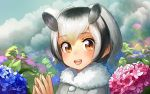 1girl :d bird_wings blonde_hair clouds coat commentary_request eyebrows_visible_through_hair eyes_visible_through_hair flower fur_collar grey_hair hair_between_eyes head_wings hydrangea kemono_friends looking_at_viewer multicolored_hair northern_white-faced_owl_(kemono_friends) open_mouth owl_ears partial_commentary short_hair signature smile solo steepled_fingers welt_(kinsei_koutenkyoku) white_hair wings
