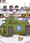 6+girls artist_request bird black_eyes black_hair blonde_hair bridge caterpillar_tracks crash duck emblem girls_und_panzer gotou_moyoko ground_vehicle isuzu_hana konparu_nozomi mallard military military_vehicle motor_vehicle multiple_girls nishizumi_miho ooarai_(emblem) ooarai_military_uniform reizei_mako road_sign short_hair sign smile sono_midoriko takebe_saori tank traffic_light