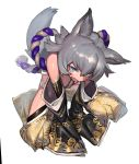1girl amrkdrw animal_ears bare_shoulders black_panties blue_eyes cat_ears cat_girl cat_tail detached_sleeves facial_mark fang final_fantasy final_fantasy_xiv grey_hair heterochromia highleg highleg_panties highres long_sleeves miqo'te open_mouth panties rope shimenawa short_hair sitting sleeves_past_wrists solo tail underwear wariza yellow_eyes