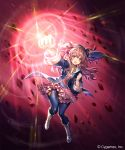 1girl :o attack bangs black_jacket black_pants black_ribbon blush boots clenched_hands collarbone company_name cygames diffraction_spikes dress eyebrows_visible_through_hair floating_hair foreshortening full_body gem glowing hair_between_eyes hair_ribbon hairband hand_up jacket knee_boots layered_dress long_hair long_sleeves looking_at_viewer lorena_(shadowverse) madogawa magic official_art open_clothes open_jacket open_mouth outstretched_arm pants pink_background pink_dress pink_eyes pink_hair ribbon rock serious shadowverse short_dress sidelocks solo striped striped_dress two_side_up v-shaped_eyebrows veil vertical-striped_dress vertical_stripes wavy_hair white_footwear wide_sleeves