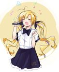 blonde_hair chaos;head closed_eyes hair_ribbon highres long_hair microphone music orihara_kozue ribbon rotte_(1109) school_uniform singing skirt solo twintails
