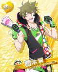 brown_hair character_name closed_eyes dress idolmaster idolmaster_side-m kashiwagi_tsubasa short_hair smile sports