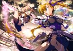 2girls absurdres ahoge armor asymmetrical_hair black_bodysuit black_cape black_gloves blonde_hair blue_hairclip blue_ribbon bodysuit boots breasts cape clouds cloudy_sky dusk energy eyebrows_visible_through_hair eyes_visible_through_hair fingerless_gloves flat_chest fujima_takuya gauntlets gloves gluteal_fold green_eyes hair_between_eyes hair_ornament hair_ribbon hairclip heterochromia highres impossible_bodysuit impossible_clothes jacket juliet_sleeves jumping knee_boots large_breasts light_brown_hair light_particles long_sleeves looking_at_another lyrical_nanoha mahou_shoujo_lyrical_nanoha_vivid miura_rinaldi multicolored_hairclip multiple_girls official_art open_mouth orange_jacket print_bodysuit print_jacket puffy_sleeves red_eyes ribbon scan side_ponytail skindentation sky squatting stadium star star_print star_saber tongue torn_bodysuit torn_clothes vivio waist_cape white_footwear white_hairclip white_jacket white_sleeves