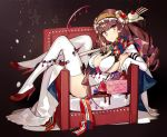 1girl 2017 bangs black_bow bow breasts brown_hair brown_hairband candy candy_cane chair cherry chocolate chocolate_syrup closed_mouth drill_hair elbow_gloves flower food frilled_hairband frills fruit full_body gloves hairband high_heels large_breasts long_hair looking_at_viewer merry_christmas ninomoto original pink_eyes red_flower red_footwear red_rose rose shoes smile solo star thigh-highs white_gloves white_legwear