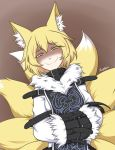 1girl animal_ears blonde_hair bound brown_background buckle dress evil_smile eyebrows_visible_through_hair fluffy_collar fox_ears fox_tail highres multiple_tails paran01d shaded_face signature simple_background smile solo squinting straitjacket tabard tail touhou upper_body white_dress yakumo_ran yellow_eyes yellow_fur