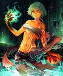 1girl artist_request black_skin breasts cygames dark_skin enkidu_(shadowverse) eyebrows_visible_through_hair fingernails full_body_tattoo glowing_tattoo green_eyes green_hair looking_at_viewer multicolored multicolored_skin navel official_art open_mouth partially_submerged shadowverse sharp_fingernails short_hair small_breasts solo stasis_tank tattoo