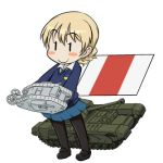1girl blonde_hair chibi churchill_(tank) darjeeling girls_und_panzer ground_vehicle lowres mark_i_tank military military_vehicle motor_vehicle pantyhose smile st._gloriana's_school_uniform takanaga_kouhei tank white_background