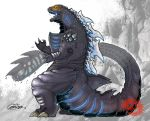 absurdres alternate_universe claws commentary creature english_commentary glowing glowing_eyes godzilla godzilla_(series) grey_skin highres huge_filesize kaijuu monster no_humans science_fiction seaguns96 tokusatsu yellow_eyes