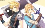 2boys armor blonde_hair blue_eyes buster_sword cloud_strife final_fantasy final_fantasy_vii gloves huge_weapon link long_hair looking_at_viewer male_focus master_sword multiple_boys pointy_ears short_hair spiky_hair super_smash_bros. sword the_legend_of_zelda the_legend_of_zelda:_breath_of_the_wild weapon